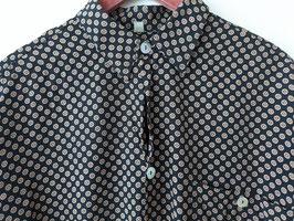 Hemd Dots Pattern Schwarz Creme Perlmutt-Knöpfe (L-XL)