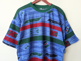 T-Shirt Azteken Muster Blau-Töne Dunkelgrüner Kragen Crazy Pattern Ethno Neu (XL-XXL)