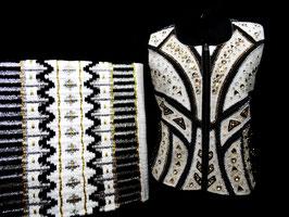 Show Weste weiß schwarz silber gold Größe 44
