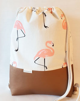 Turnbeutel Rucksack Flamingos kupfer