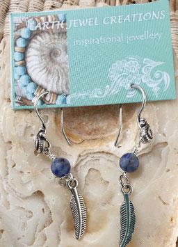 Sodalite Feather Earrings