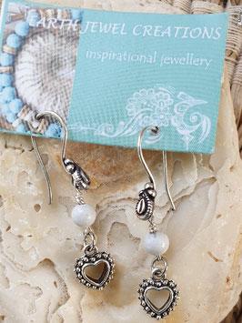 White Howlite Heart Earrings