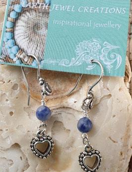 Sodalite Heart Earrings