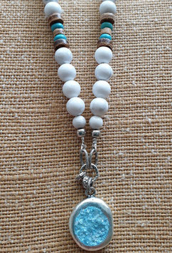 White Howlite & Quartz Inspiration Necklace