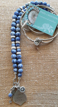 Blue Sodalite Marrakesh Affirmation  Necklace