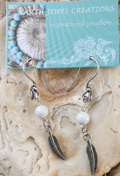 White Howlite Feather Earrings