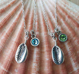 Silver Mini Cowrie Shell Crystal Necklace