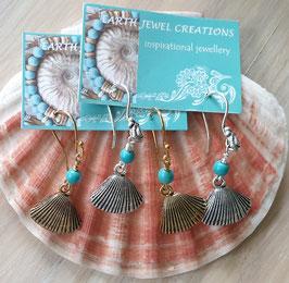 Ocean magic turquoise shell earrings