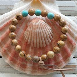 Men's Jasper & Turquoise Gemstone Energy Bracelet