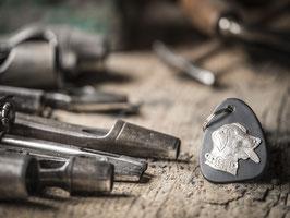 Schlüsselanhänger Hund, echtem Silber 925