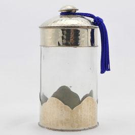 Glasdose aus Alpaka, Hammerschlag (klein)