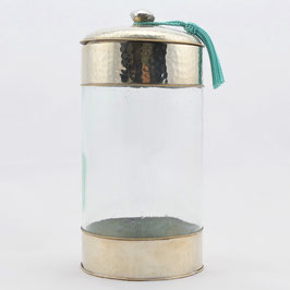 Glasdose aus Alpaka, Hammerschlag (gross)