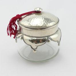 Glasdose aus Alpaka