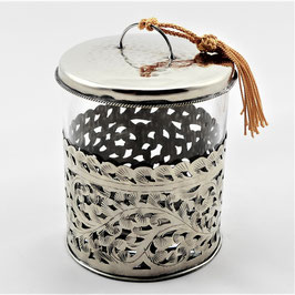 Glasdose aus Alpaka, mit Alpakadeckel
