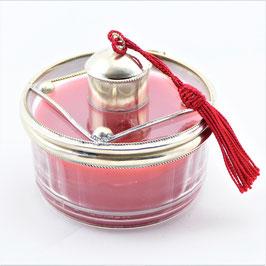 Kerze im Glas mit Alpaka verziert
