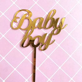 "Cake Topper ""Baby Boy"" - gold"