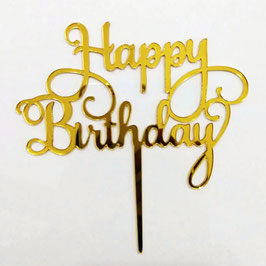 "Cake Topper ""Happy Birthday"" - Gold"