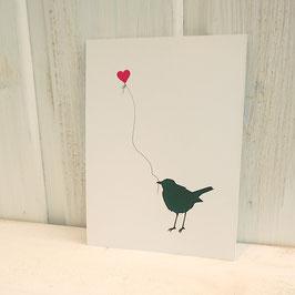 Postkarte / Klappkarte mit Vogel und Herzballon
