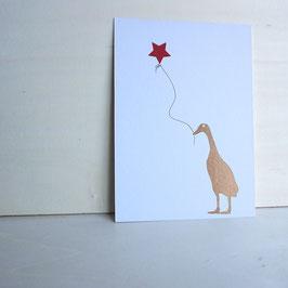 Weihnachtskarte mit Ente und Sternballon