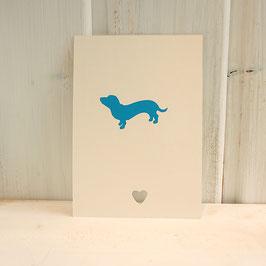 Postkarte / Klappkarte mit stilisiertem Dackel