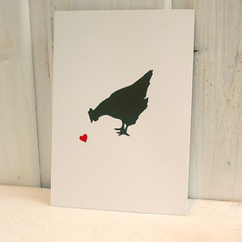 Postkarte / Klappkarte mit Huhn
