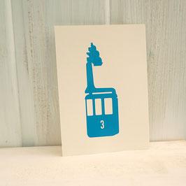 Postkarte / Klappkarte mit Seilbahn