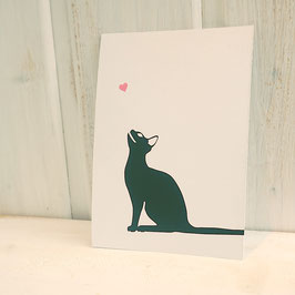 Postkarte / Klappkarte mit seitlicher Katze