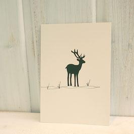 Postkarte / Klappkarte mit Hirsch im Gras
