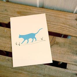 Postkarte / Klappkarte mit Katze im Gras