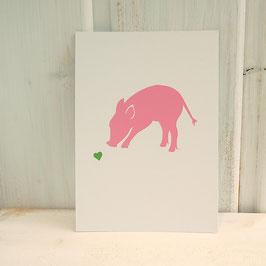 Postkarte / Klappkarte mit Schwein