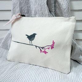 Kleine Tasche mit Vogel auf Ast { beige }