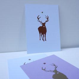 Weihnachtskarte mit frontalem Hirsch und Stern