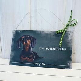 """Türschild mit Dackel """"Postbotenfreund"""""""
