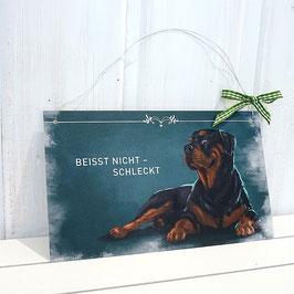 """Türschild mit Rottweiler """"beißt nicht, schleckt"""""""