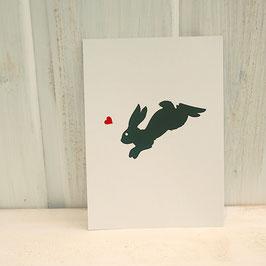 Postkarte / Klappkarte mit Hase