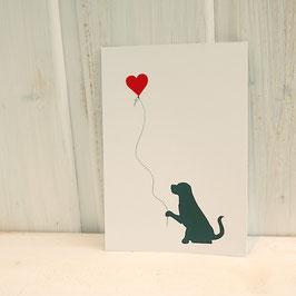 Postkarte / Klappkarte mit Hund und Herzballon