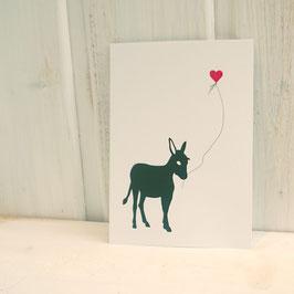 Postkarte / Klappkarte mit Esel und Herzballon