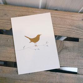 Postkarte / Klappkarte mit Vogel auf Ast
