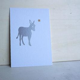 Weihnachtskarte mit Esel und Stern