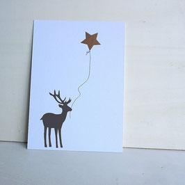 Weihnachtskarte mit seitlichem Hirsch und Sternballon