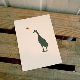 Postkarte / Klappkarte mit Laufente