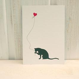 Postkarte / Klappkarte mit Katze und Herzballon