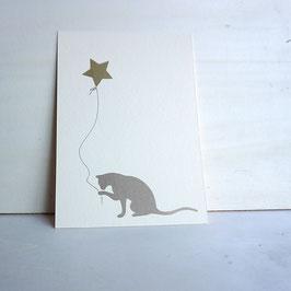 Weihnachtskarte mit Katze und Sternballon