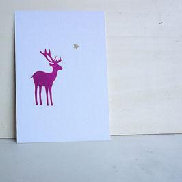Weihnachtskarte mit seitlichem Hirsch und Stern