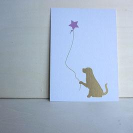 Weihnachtskarte mit Hund und Sternballon