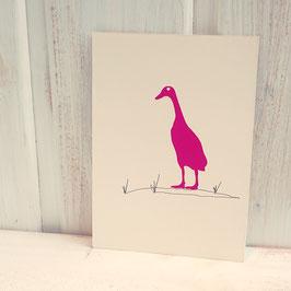 Postkarte / Klappkarte mit Laufente im Gras