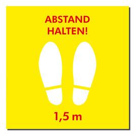 """Kleber """"Füße/Abstand halten"""" 400x400mm   gelb/rot"""