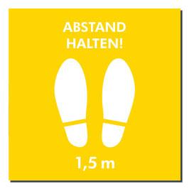 """Kleber """"Schuhe/Abstand Halten"""" 400x400mm orange"""