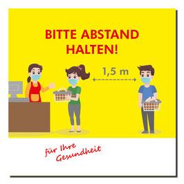 """Kleber """"Cartoon/Abstand halten"""" 400x400mm gelb"""