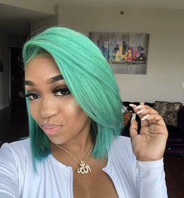 Mint Green Brazilian Straight Bob w/Side Part or Middle Part